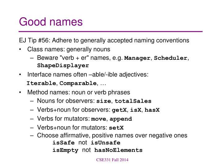 Good names
