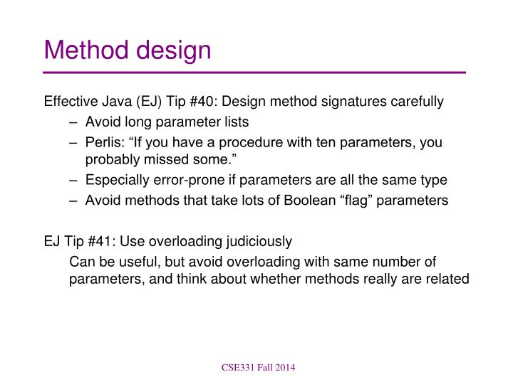 Method design