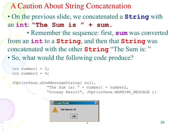 A Caution About String Concatenation