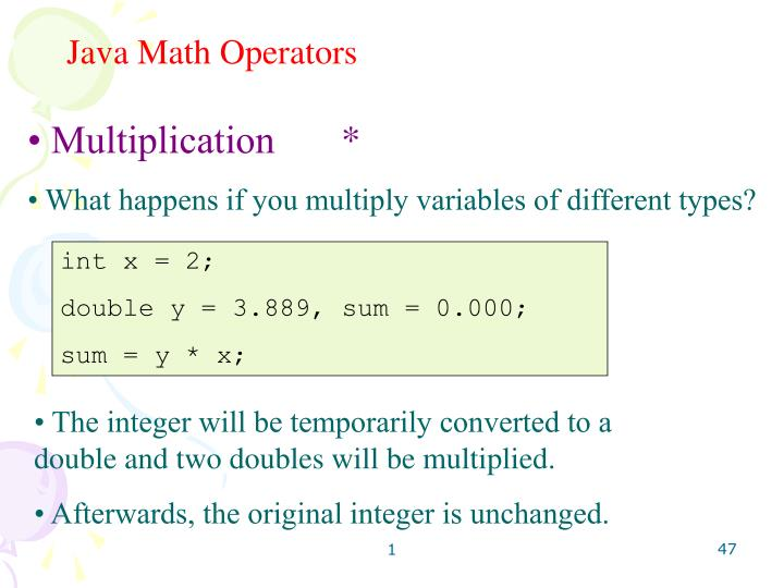 Java Math Operators