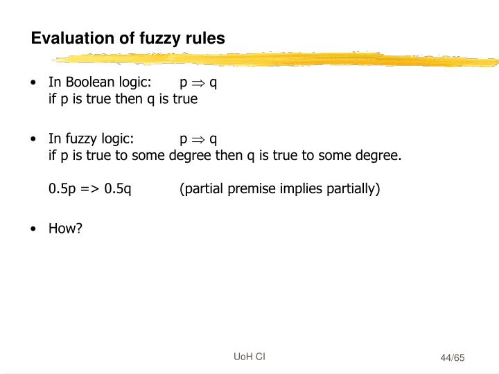 Evaluation of fuzzy rules
