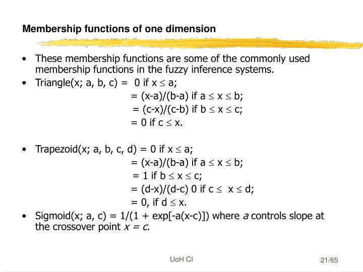 Membership functions of one dimension