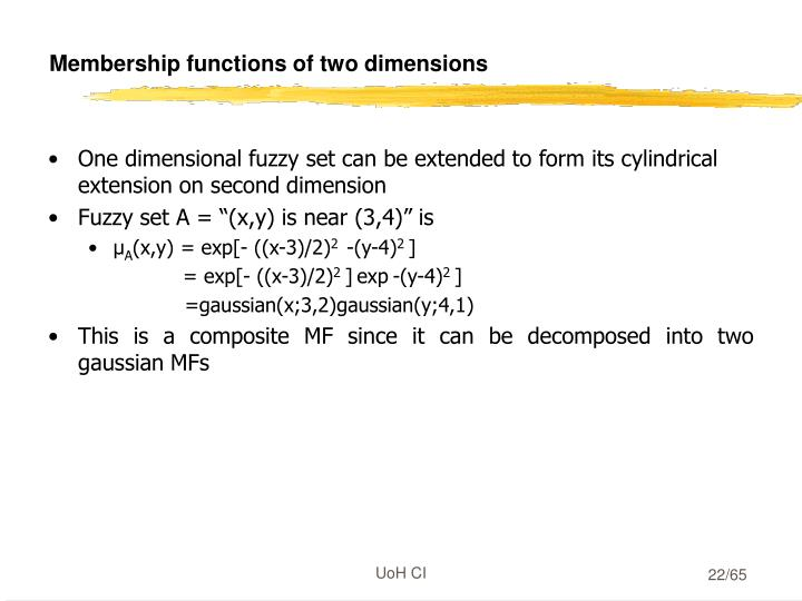 Membership functions of two dimensions