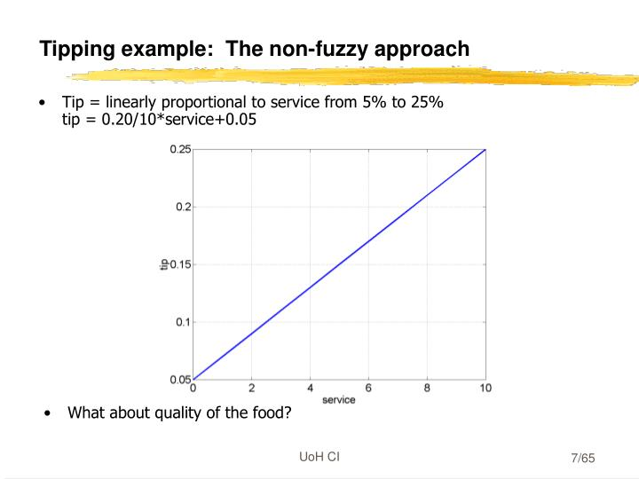 Tipping example:  The non-fuzzy approach