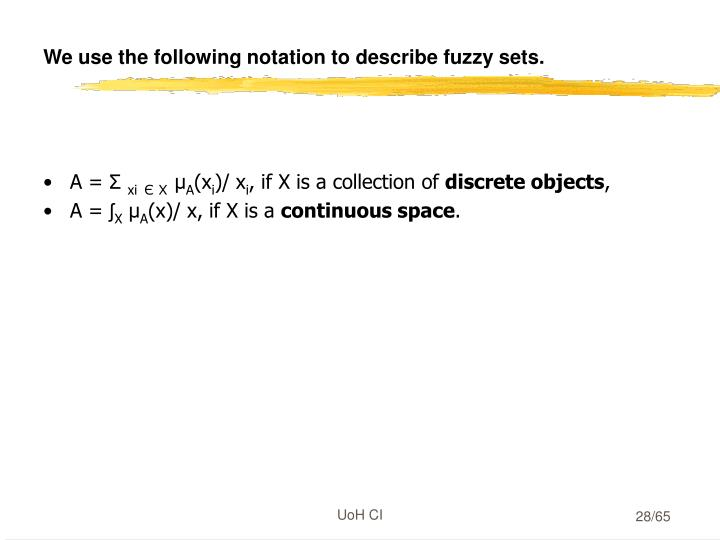 We use the following notation to describe fuzzy sets.