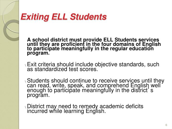 Exiting ELL Students