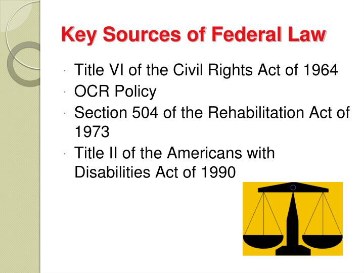 Key Sources of Federal Law