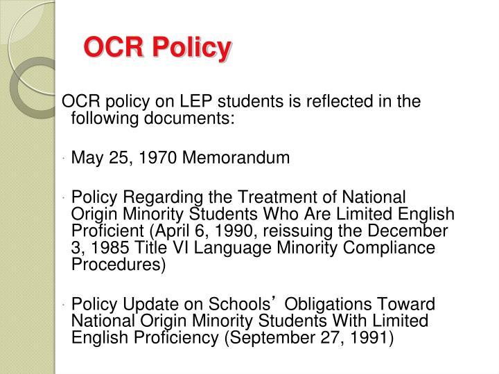 OCR Policy