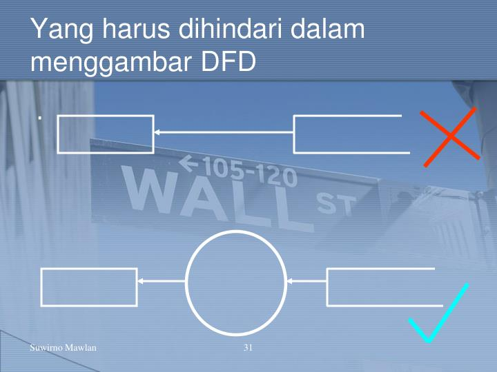 Yang harus dihindari dalam menggambar DFD