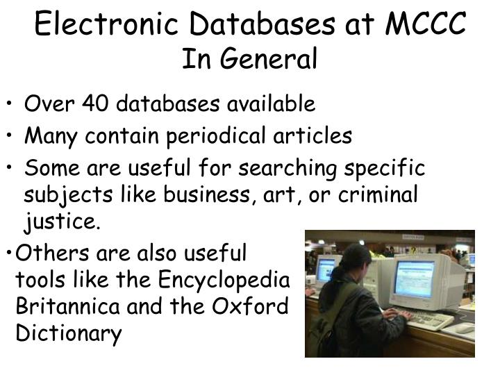Electronic Databases at MCCC
