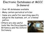 electronic databases at mccc in general