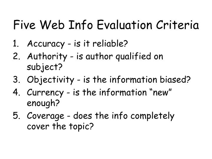 Five Web Info Evaluation Criteria