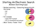 starting an electronic search boolean searching logic