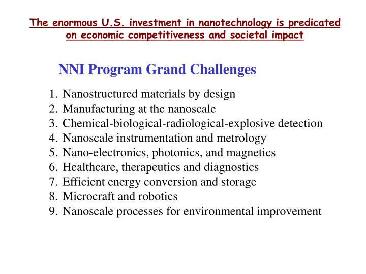 The enormous U.S. investment in nanotechnology is predicated on economic competitiveness and societal impact