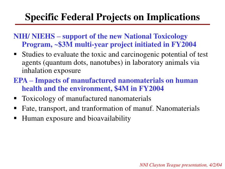 Specific Federal Projects on Implications