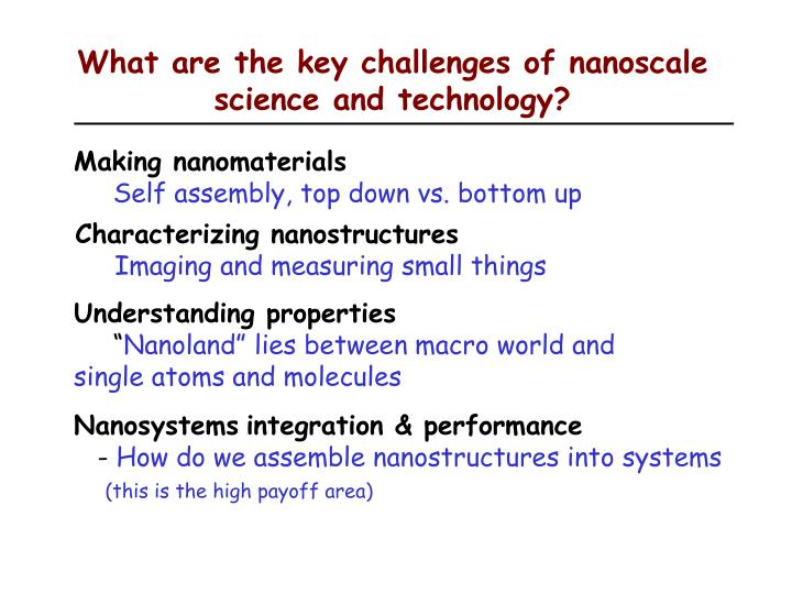 What are the key challenges of nanoscale science and technology?