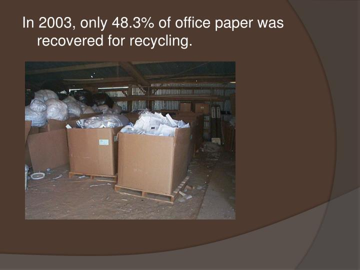 In 2003, only 48.3% of office paper was recovered for recycling.