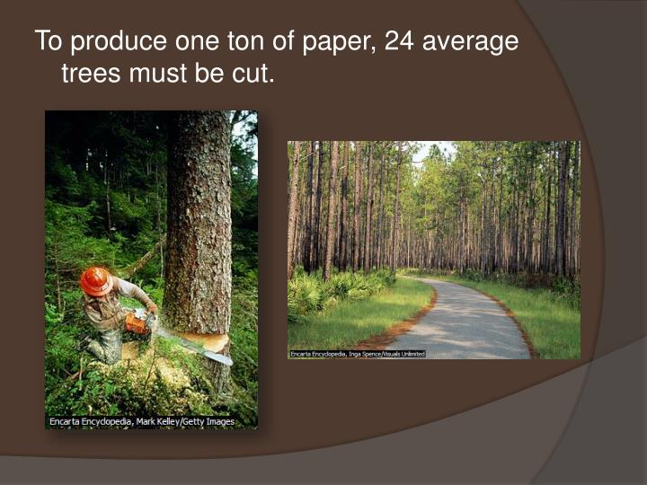 To produce one ton of paper, 24 average trees must be cut.
