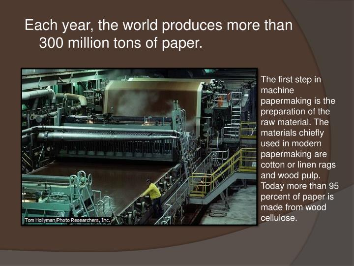 Each year, the world produces more than 300 million tons of paper.