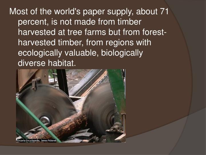 Most of the world's paper supply, about 71 percent, is not made from timber harvested at tree farms but from forest-harvested timber, from regions with ecologically valuable, biologically diverse habitat.