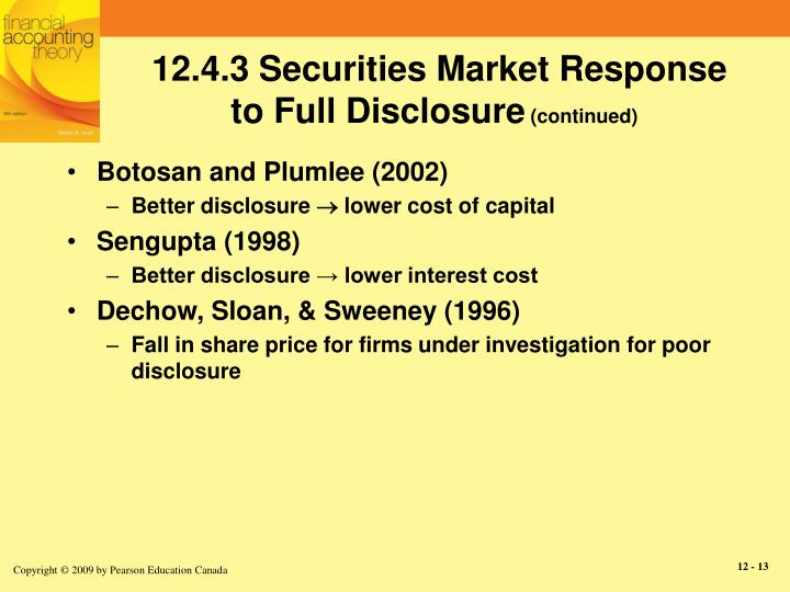12.4.3 Securities Market Response to Full Disclosure