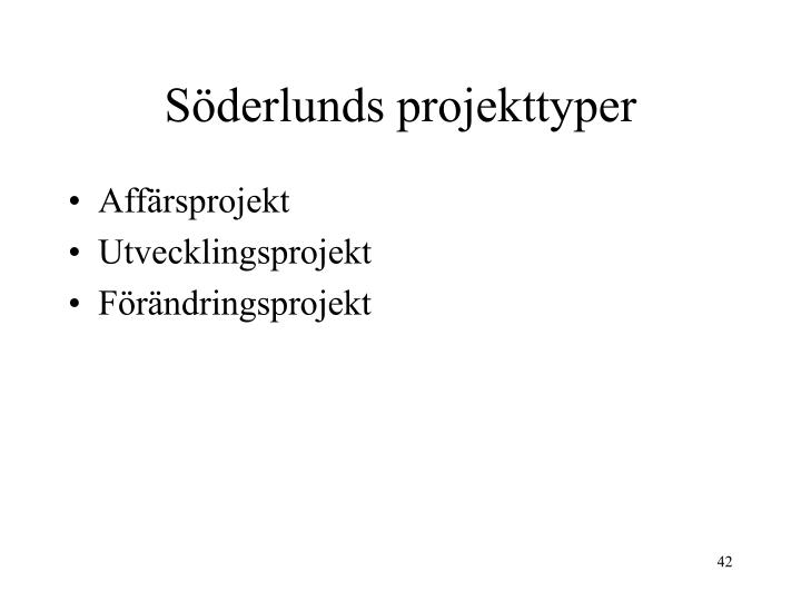 Söderlunds projekttyper
