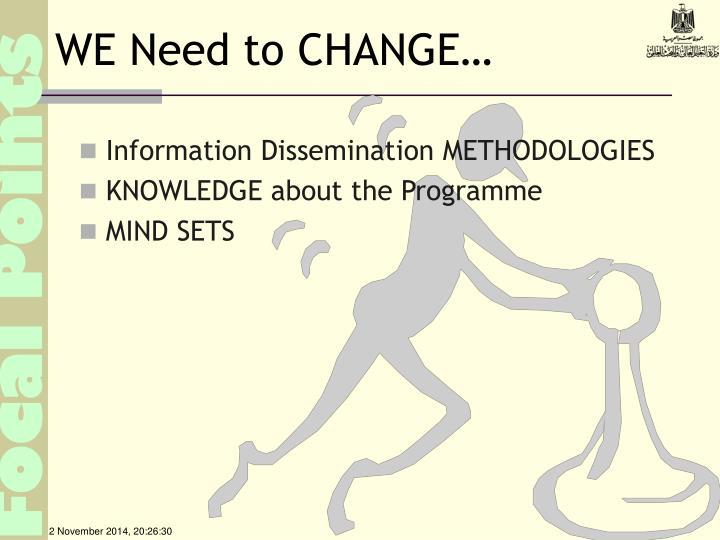 WE Need to CHANGE…