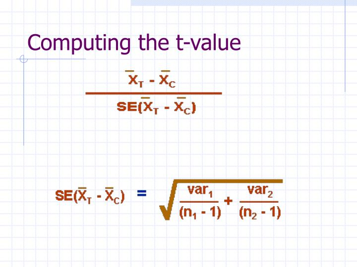 Computing the t-value