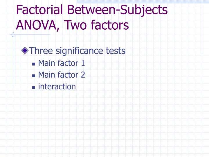 Factorial Between-Subjects ANOVA, Two factors
