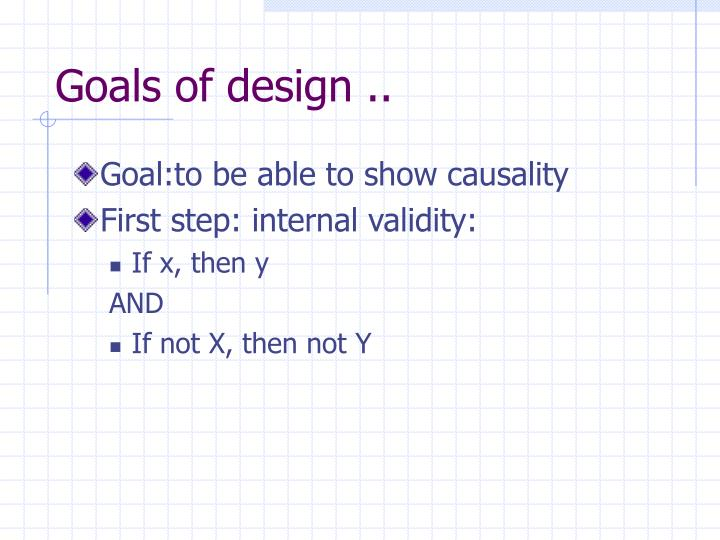 Goals of design ..