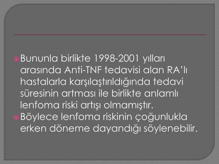 Bununla birlikte 1998-2001 yılları arasında Anti-TNF tedavisi alan
