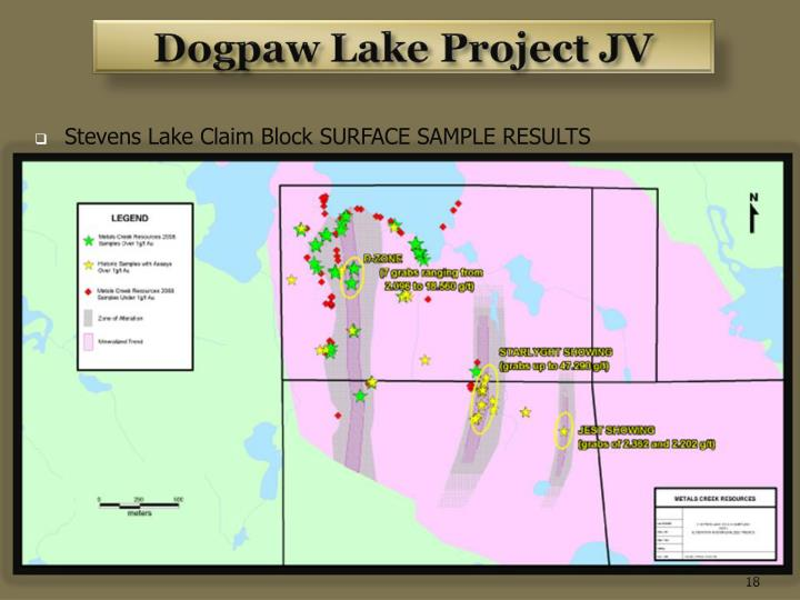 Stevens Lake Claim Block SURFACE SAMPLE RESULTS