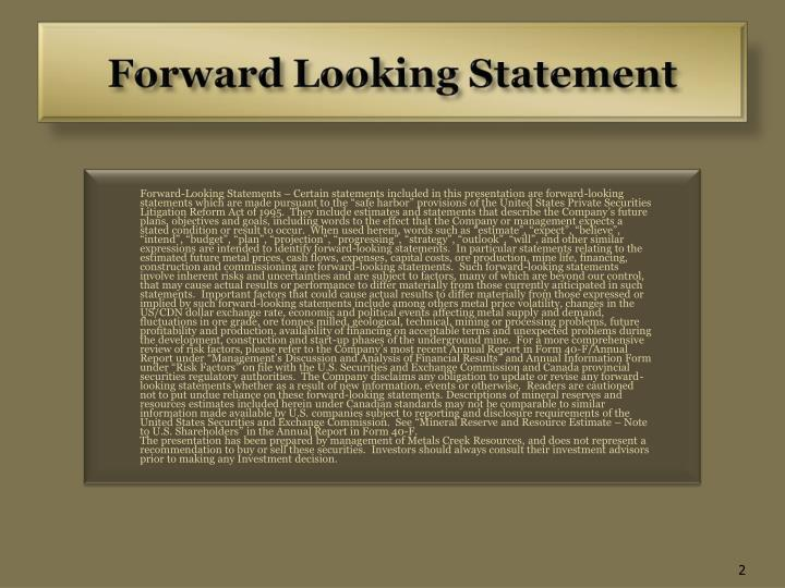 Forward-Looking Statements – Certain statements included in this presentation are forward-looking...