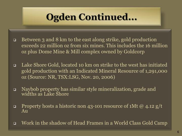 Between 3 and 8 km to the east along strike, gold production exceeds 22 million oz from six mines. This includes the 16 million oz plus Dome Mine & Mill complex owned by Goldcorp