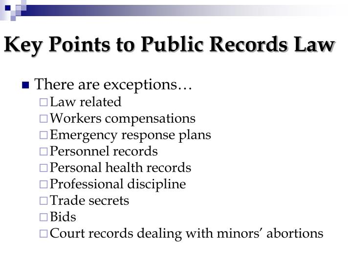 Key Points to Public Records Law