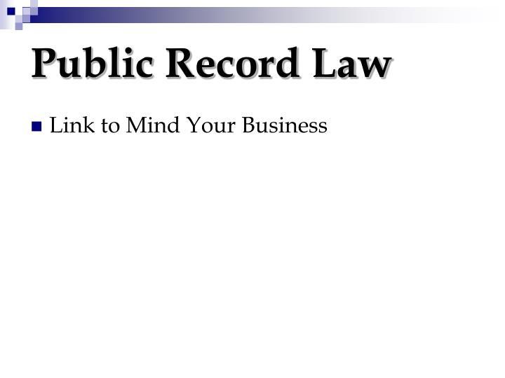 Public Record Law
