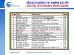 assumptions save code config interface descriptors