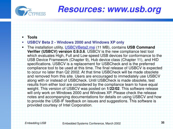 Resources: www.usb.org