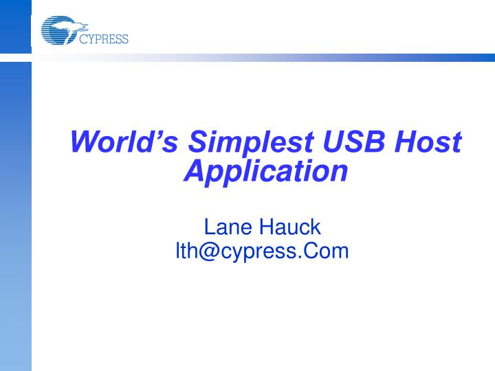 World s simplest usb host application