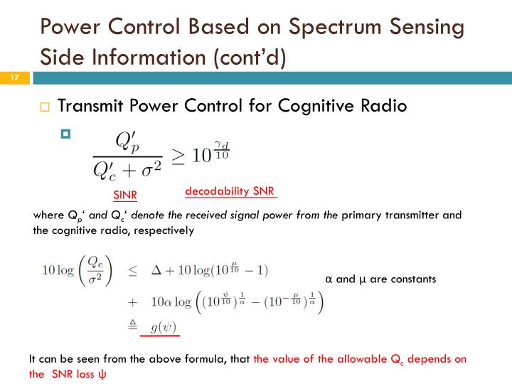 Power Control Based on Spectrum Sensing Side Information (cont'd)