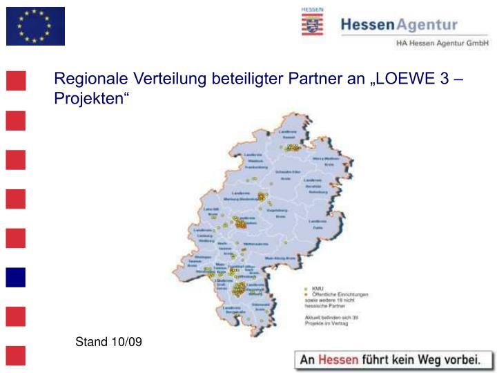 """Regionale Verteilung beteiligter Partner an """"LOEWE 3 – Projekten"""""""