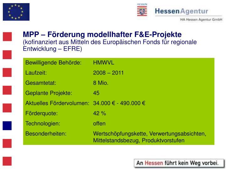 MPP – Förderung modellhafter F&E-Projekte