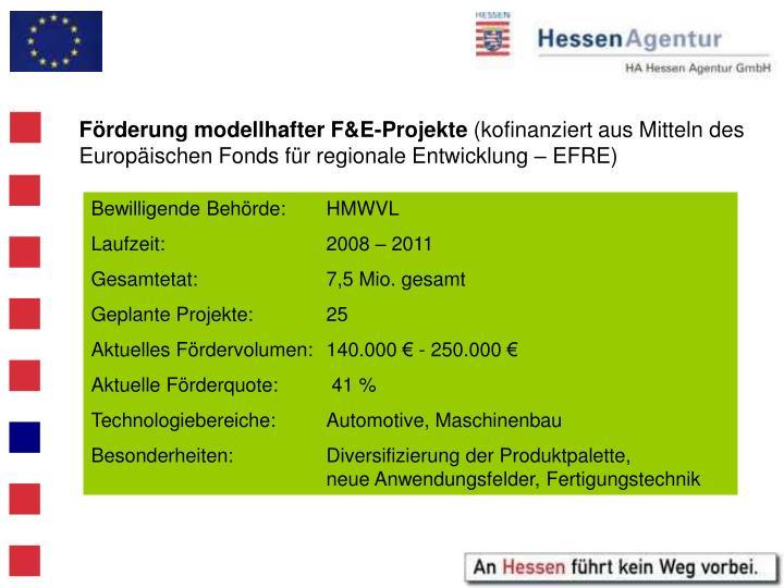 Förderung modellhafter F&E-Projekte