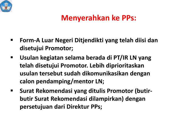 Menyerahkan ke PPs: