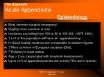 the appendix acute appendicitis epidemiology