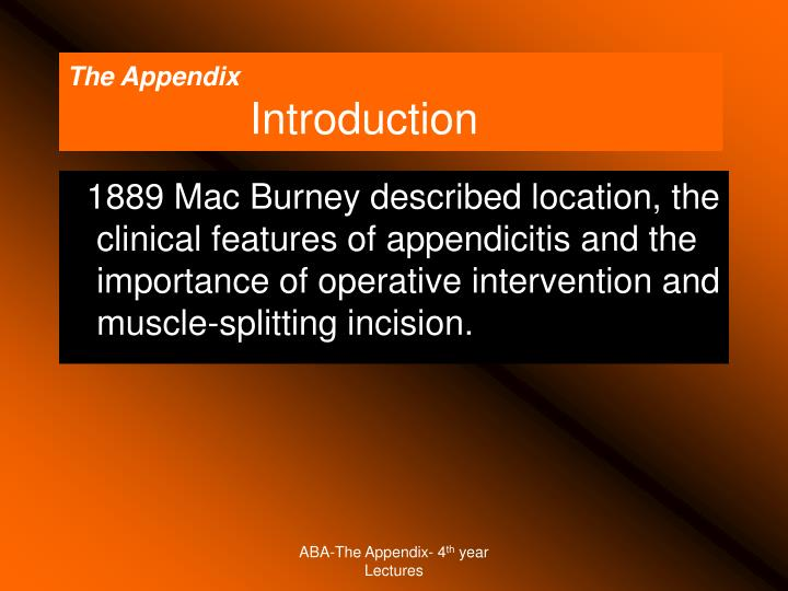 The appendix introduction