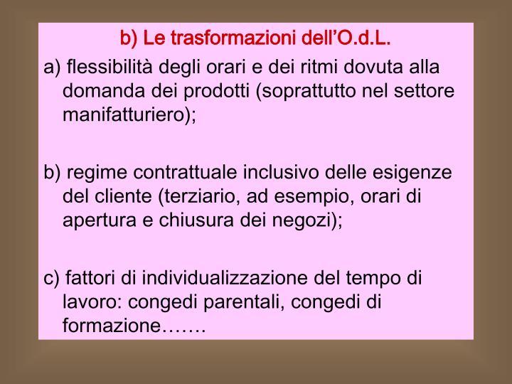 b) Le trasformazioni dell'O.d.L.