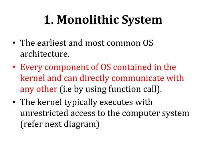 1 monolithic system