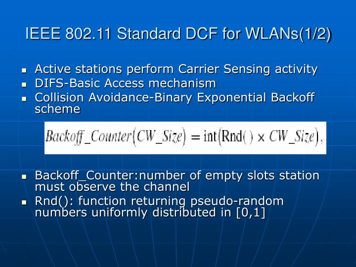 IEEE 802.11 Standard DCF for WLANs(1/2)