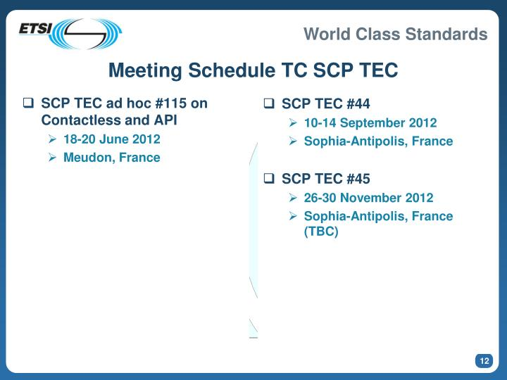 Meeting Schedule TC SCP TEC